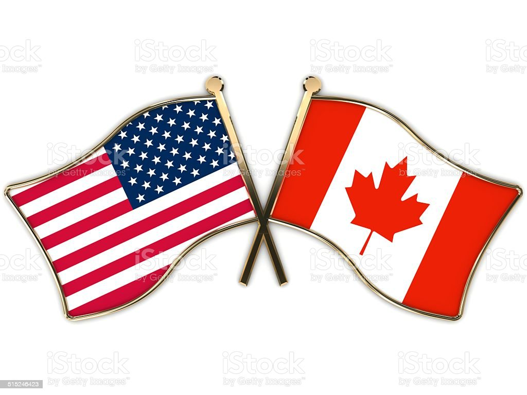 53ec4205c71 Usa Canada Flags Badge Stock Photo   More Pictures of American Flag ...
