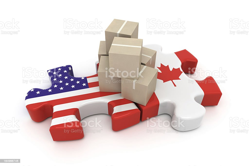 USA Canada Free Trade Concept royalty-free stock photo