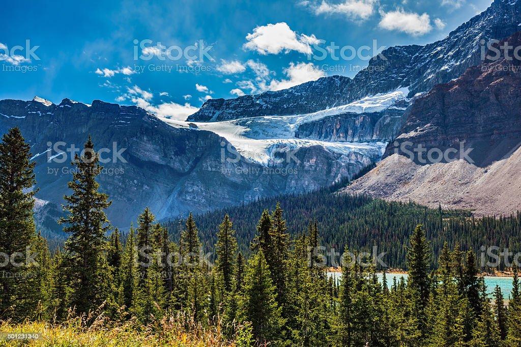 Canada, Glacier Crowfoot over Bow River stock photo