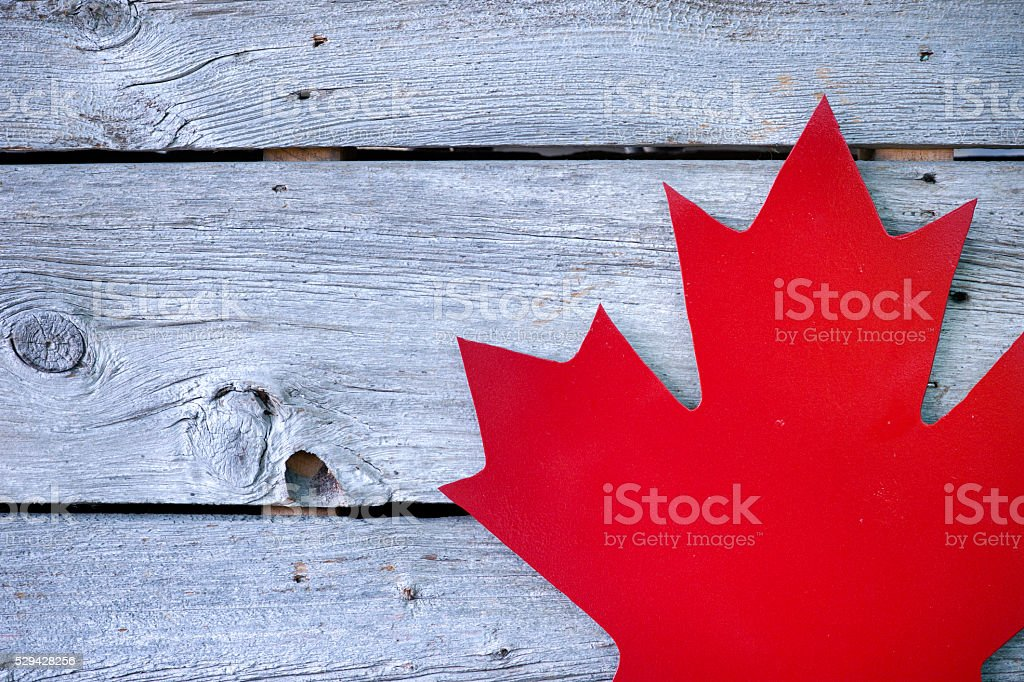 Canada grunge wood background with Canadian flag stock photo