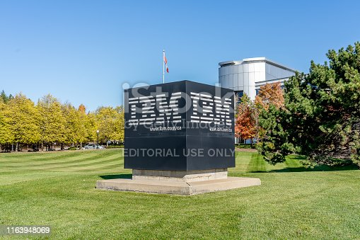 Markham, Ontario, Canada- October 30, 2018: IBM Canada Head Office Building in Markham near Toronto, Ontario. IBM is an American multinational technology company.