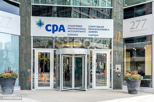 Toronto, Canada - October 24, 2019: CPA Canada head offices in  Toronto. Chartered Professional Accountants of Canada (CPA Canada) represents the Canadian accounting profession.