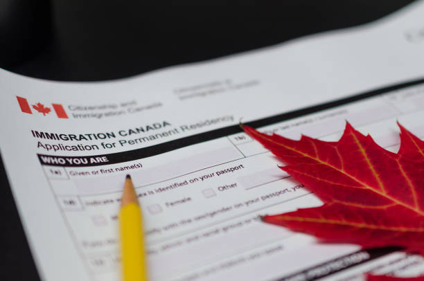 Canada immigration application form stock photo