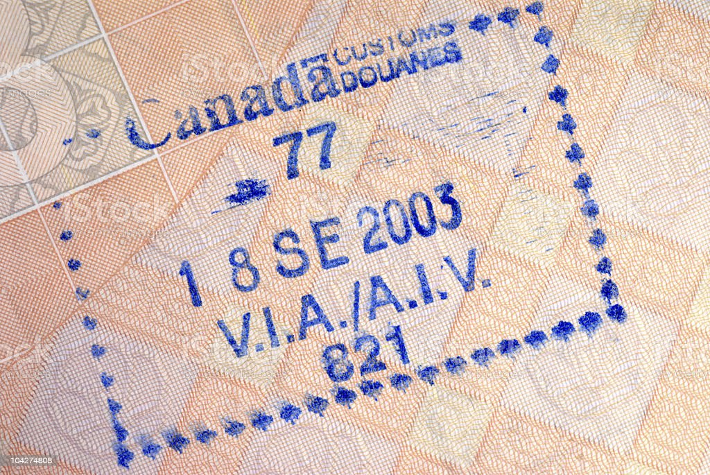 Canada immigration arrival passport stamp stock photo
