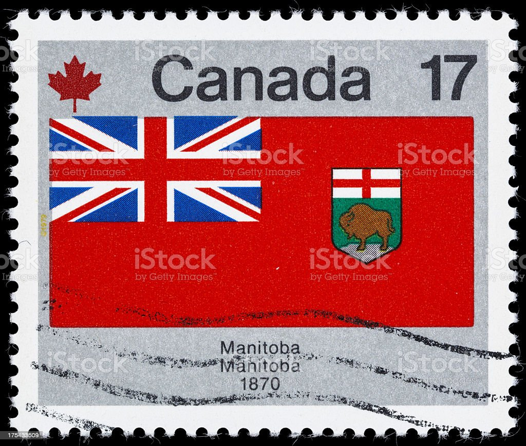 Canada Manitoba provincial flag postage stamp stock photo