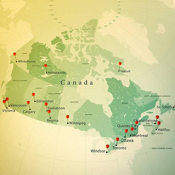 canada karte square städte vintage straight pin - kanada rundreise stock-fotos und bilder