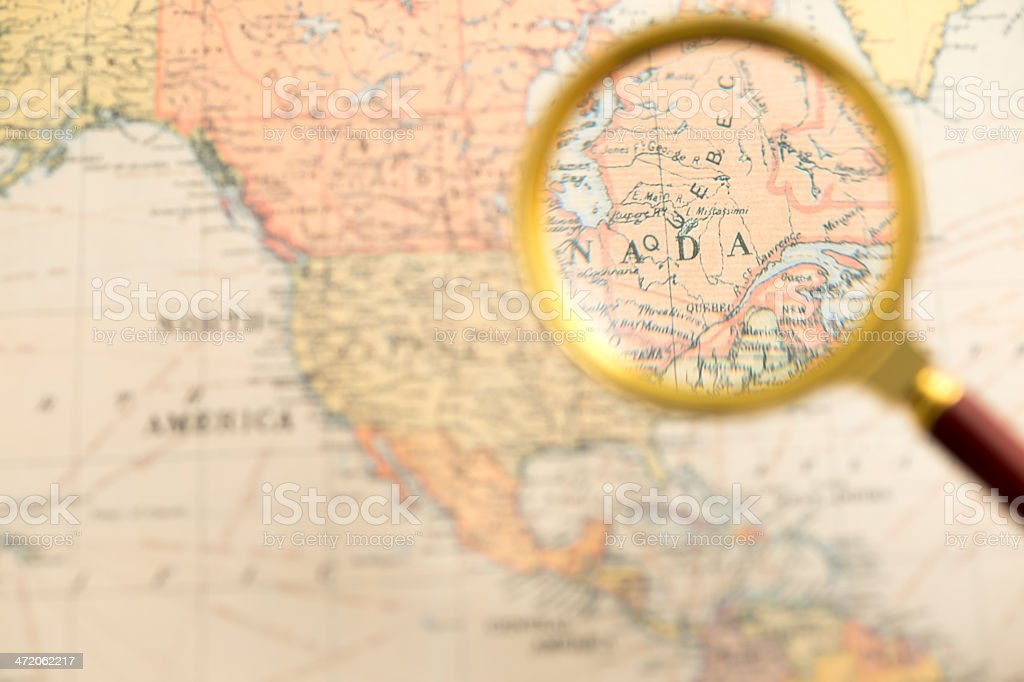 Canada Map under Magnifying Glass stock photo