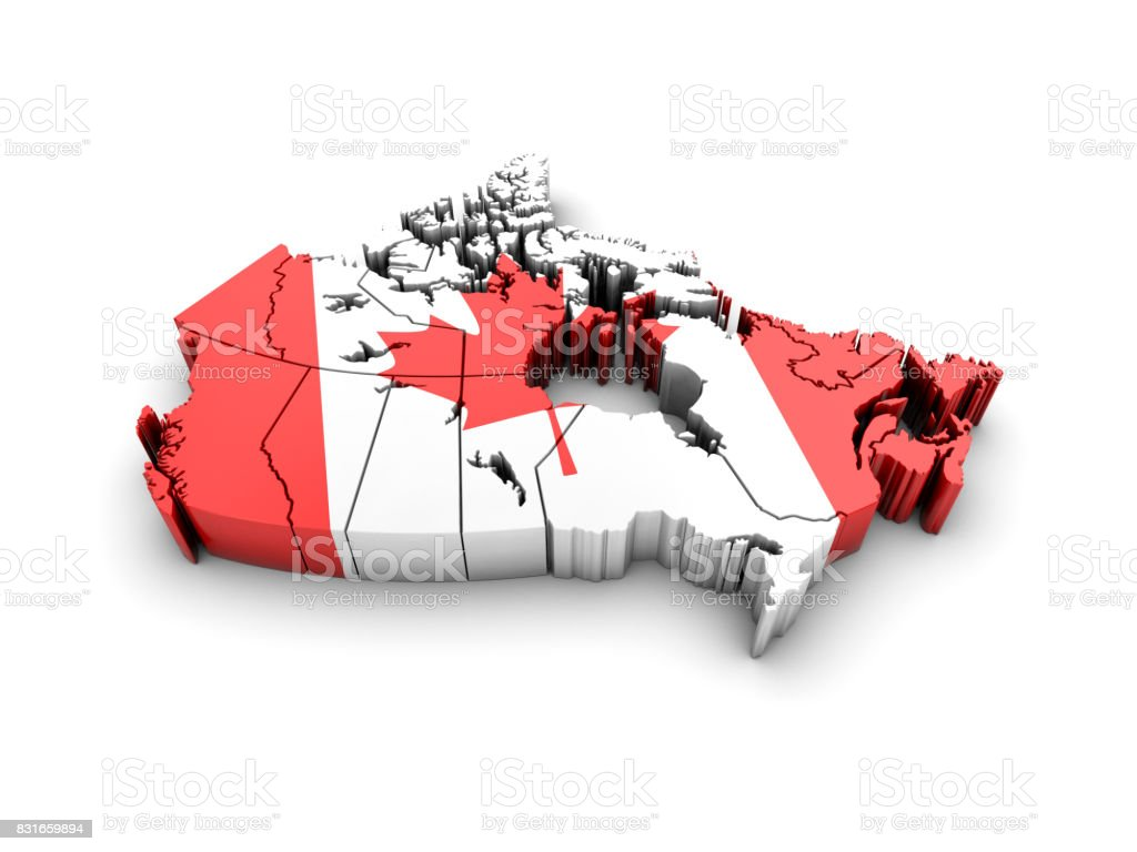 Canada map with flag on white background. 3d render. stock photo