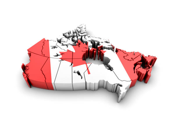 Kanada-Karte mit Flagge auf weißem Hintergrund. 3D Render. – Foto