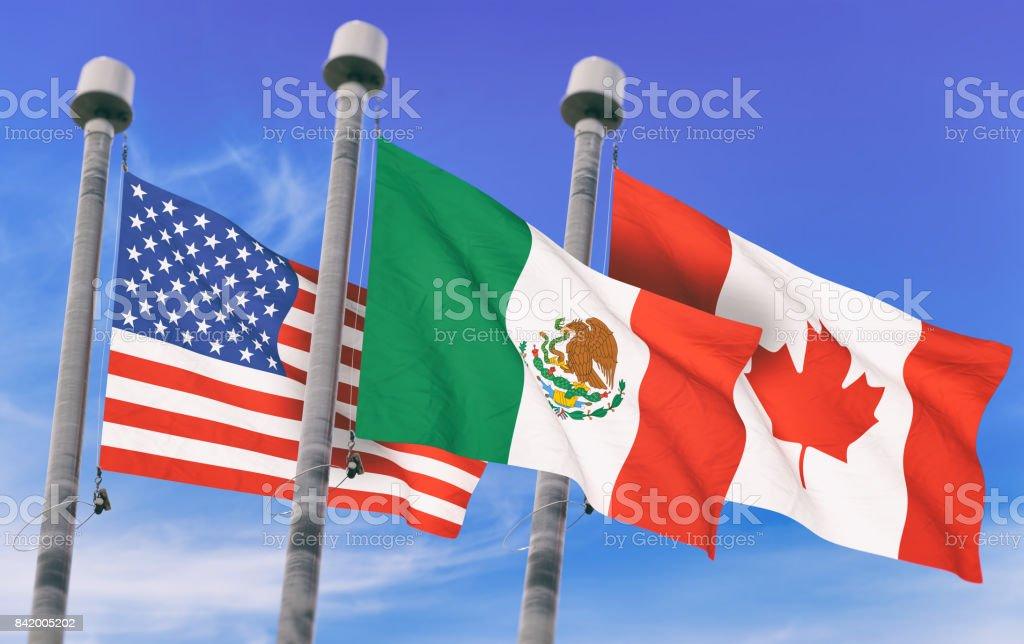 NOS indicadores sobre cielo azul, imagen conceptual para el TLC, Canadá y México (3D prestados imagen) - foto de stock