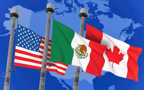 nos indicadores sobre cielo azul, imagen conceptual para el tlc, canadá y méxico (3d prestados imagen) - bandera mexico fotografías e imágenes de stock