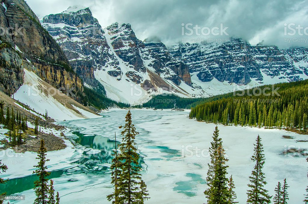 Canada Moraine Lake Winter Frozen stock photo