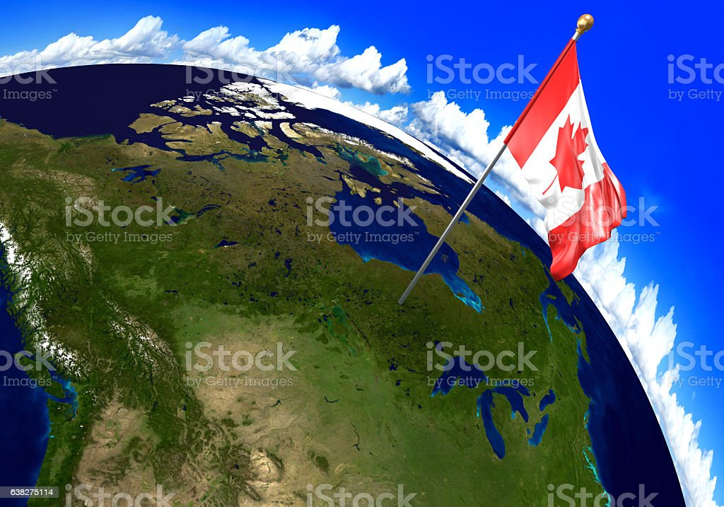Canada National Flag Marking The Country Location On World Map - Location of canada in world map