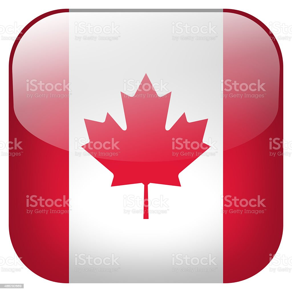 Canada national flag square button isolated on white background stock photo