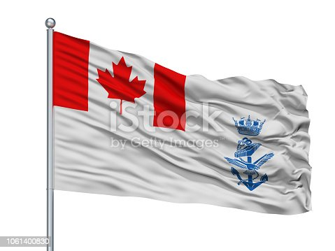 Canada Naval Ensign Flag On Flagpole, Isolated On White Background, 3D Rendering