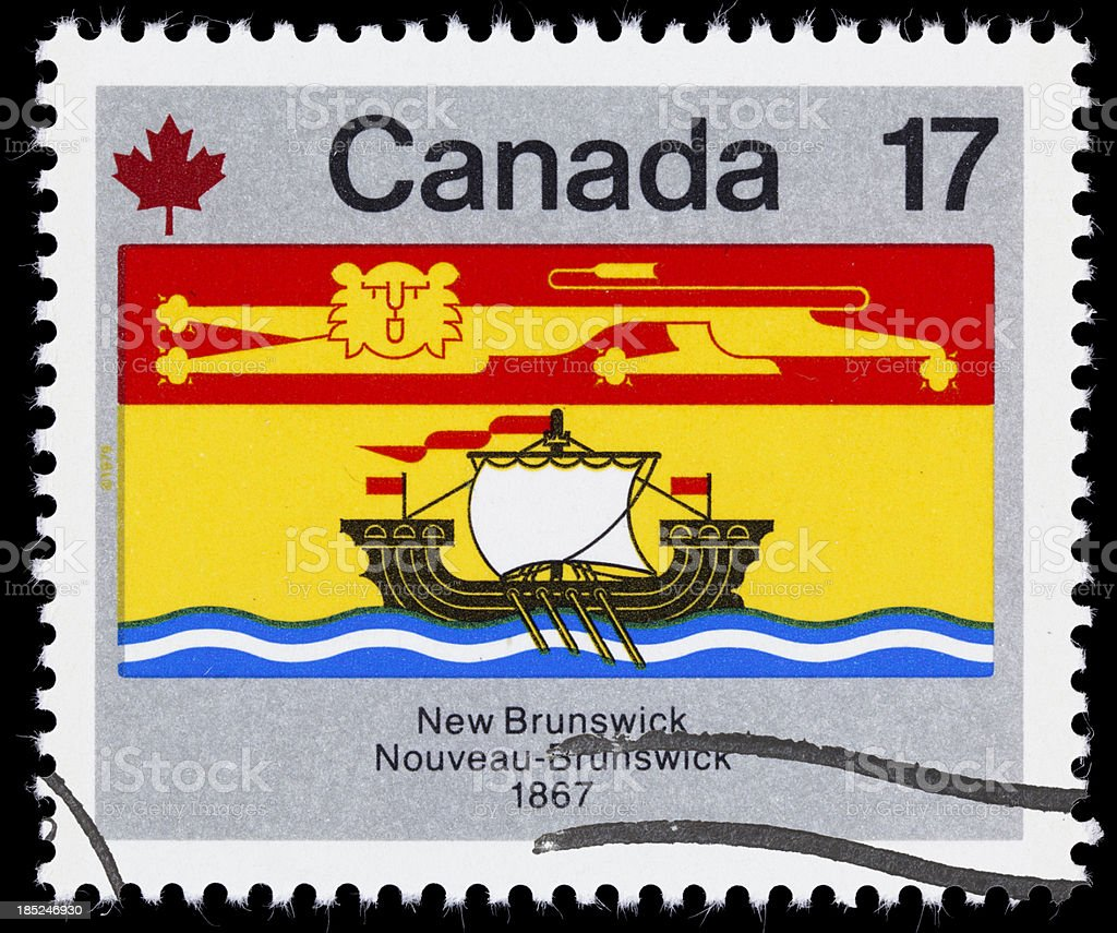 Canada New Brunswick provincial flag postage stamp stock photo