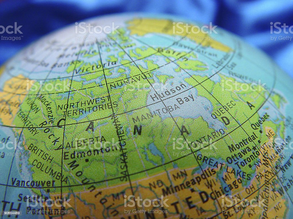 Canada on a cheap globe stock photo
