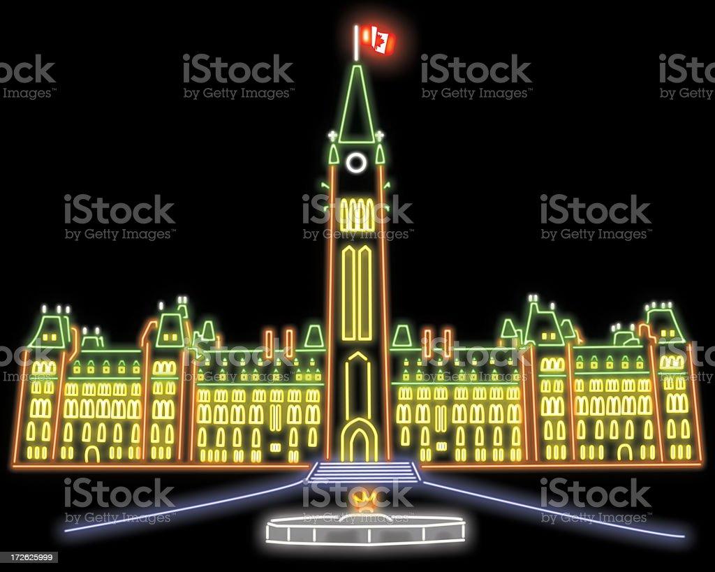 Canada Ottawa Parliament Hill Neon stock photo
