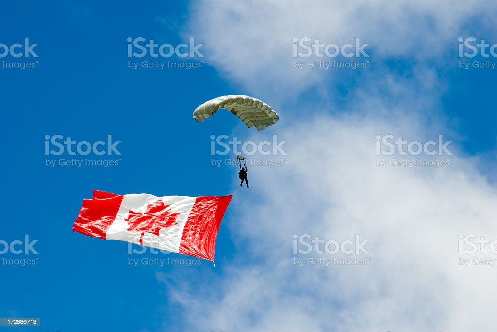 Canada Parachute Flag royalty-free stock photo