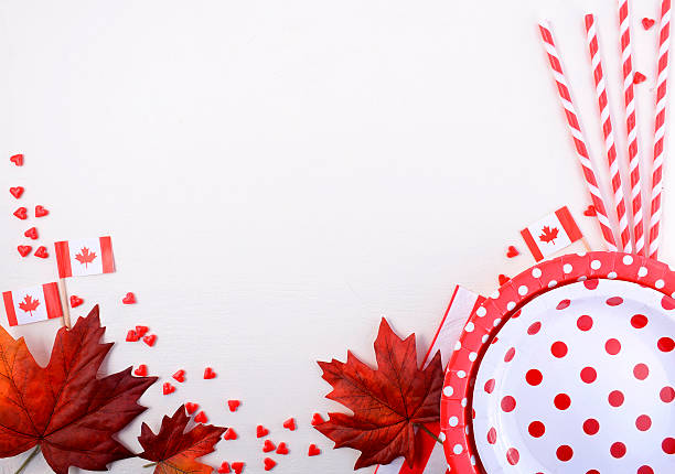 canada party table background - canada day stock pictures, royalty-free photos & images