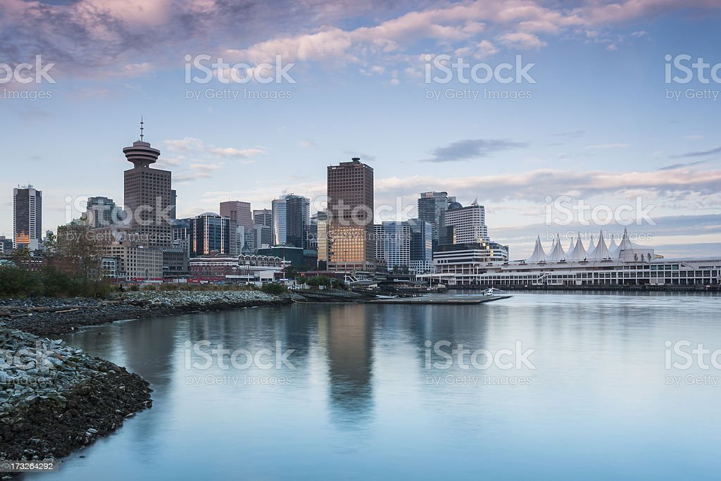 Canada Place and downtown Vancouver, BC stock photo