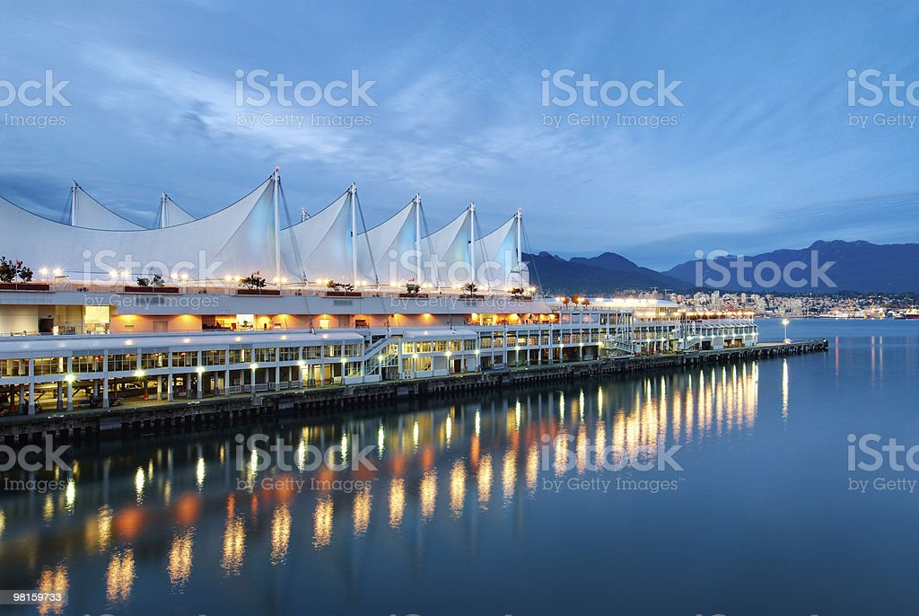 Canada Place at Dusk - Vancouver City Architecture stock photo