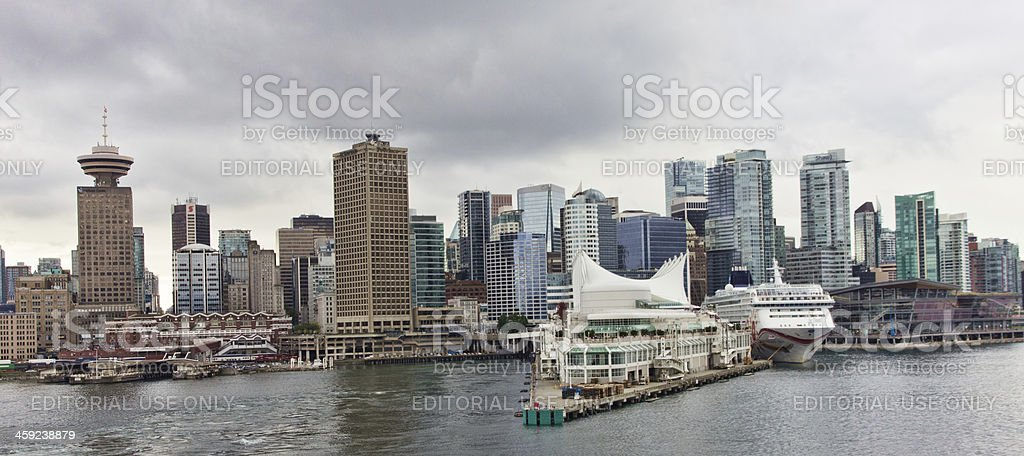 Canada Place Cruise Dock with Vancouver Skyline royalty-free stock photo