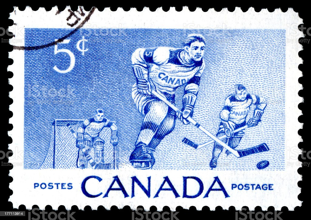 Canada Postage Stamp Ice Hockey royalty-free stock photo