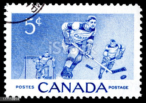 Canada postage stamp showing ice hockey players