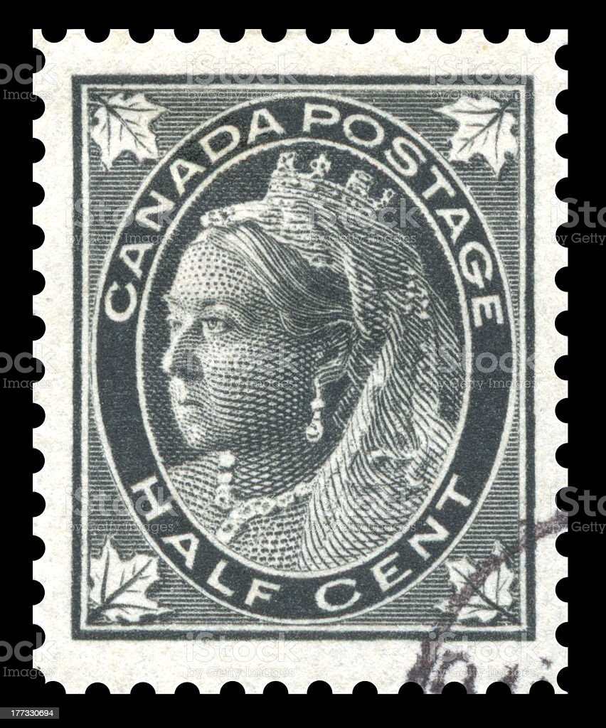 Canada Postage Stamp Queen Victoria stock photo