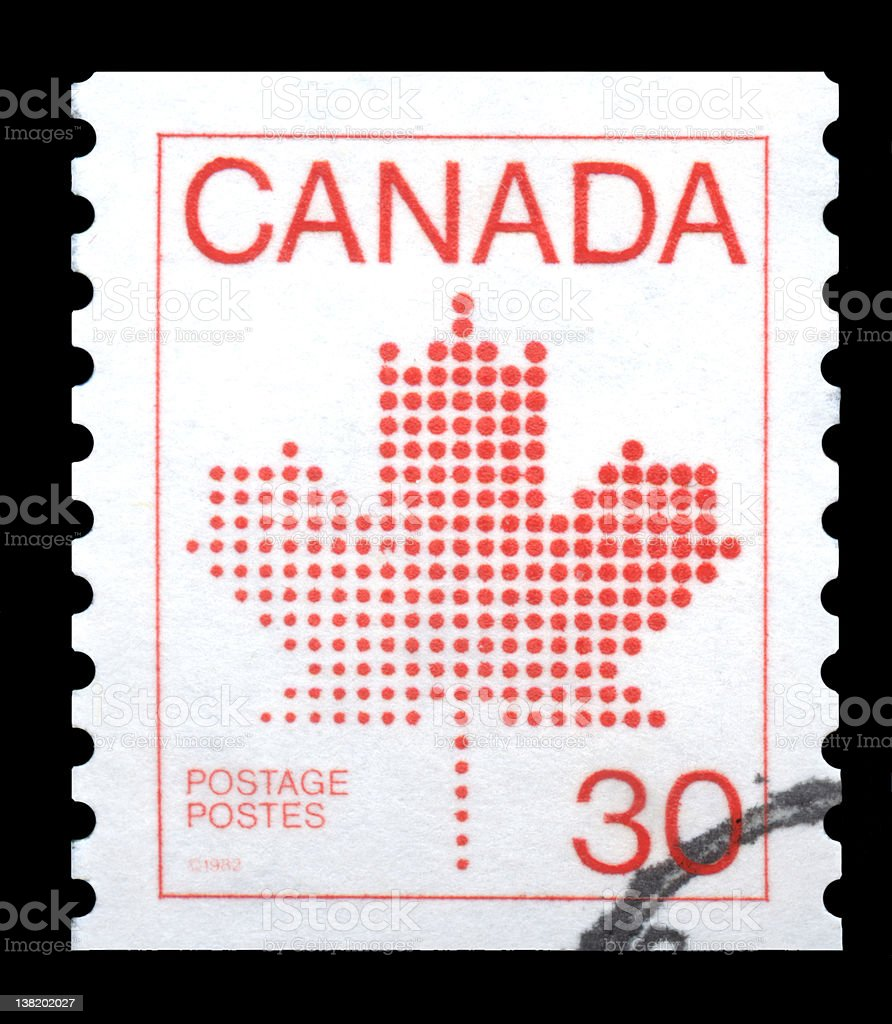 Canada Postage Stamp Red Maple Leaf stock photo