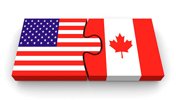 Best Us And Canadian Flag Stock Photos, Pictures & Royalty