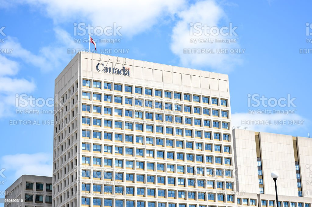 Canada sign in front of the building stock photo