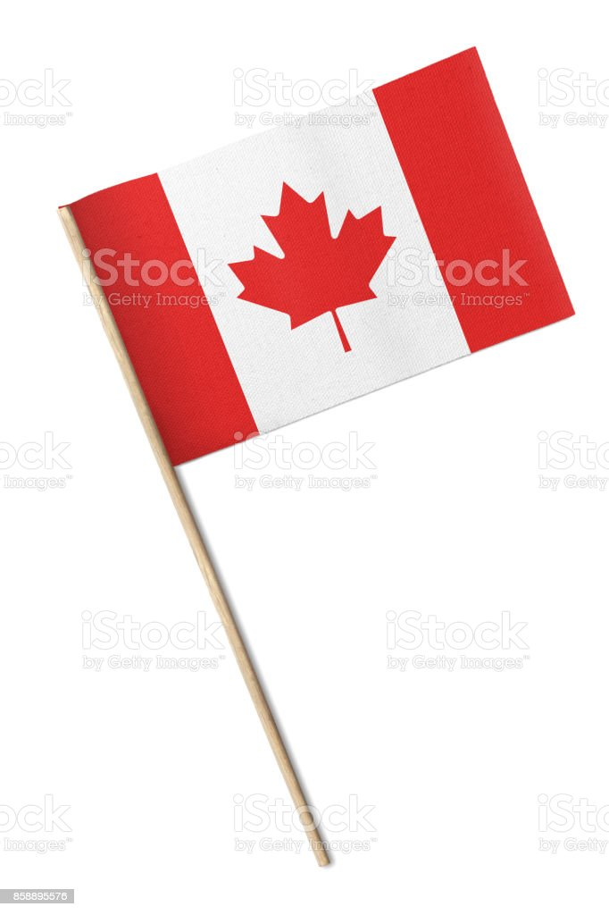Bandeira de Canadá pequeno isolada em um fundo branco - foto de acervo