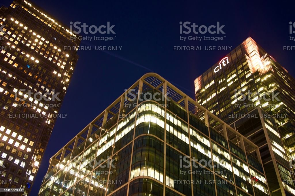 Canada Square buildings, London stock photo