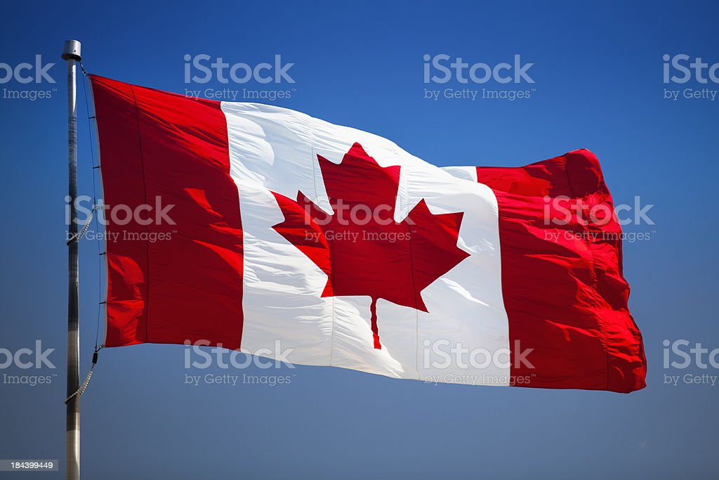 Canada symbol on a flagpole royalty-free stock photo