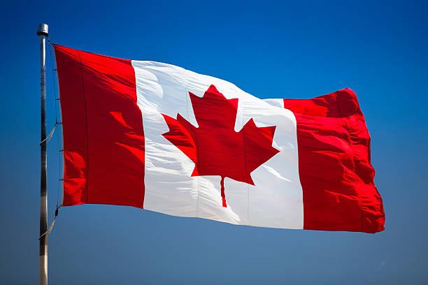 Canada symbol on a flagpole stock photo