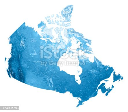 3D render and image composing: Topographic Map of Canada. Isolated on White. High resolution available! High quality relief structure!