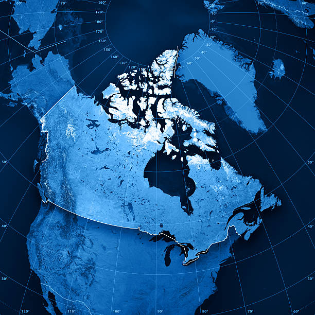 canada topographic map - north america stock photos and pictures