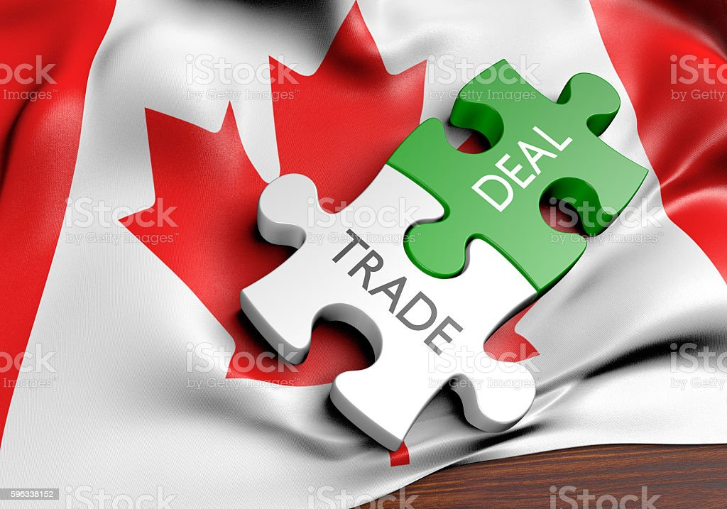 Canada trade deals and international commerce concept, 3D rendering royalty-free stock photo