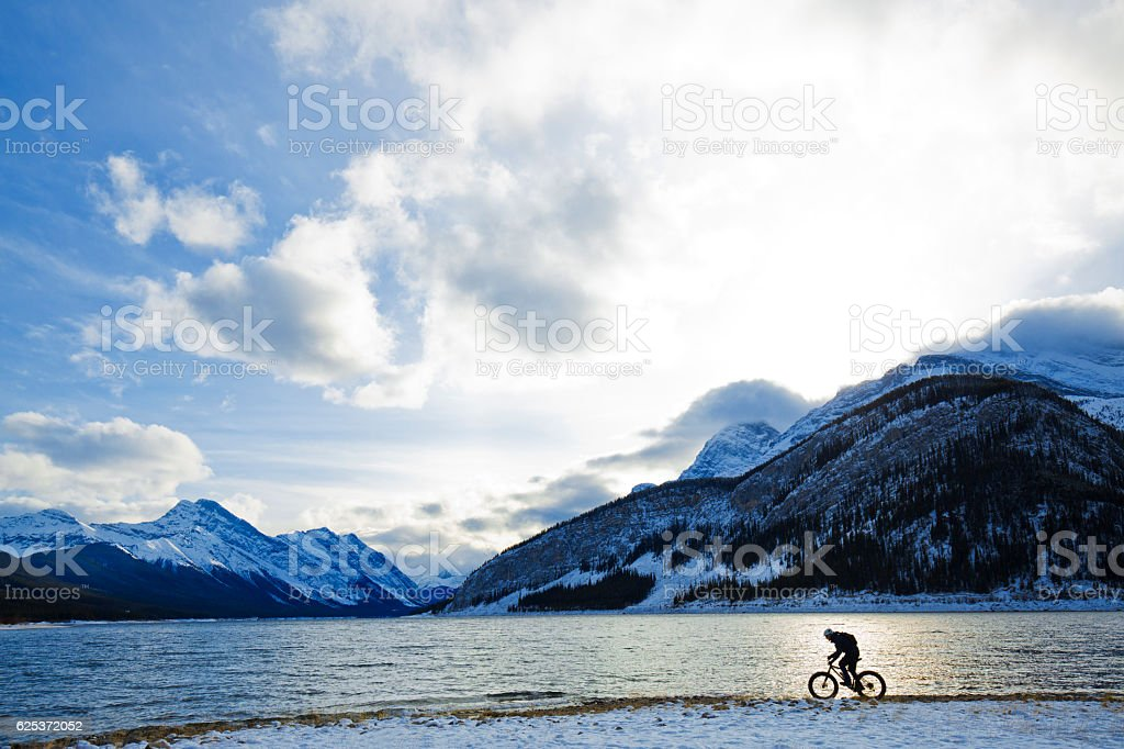 Canada Winter Fat Biking stock photo