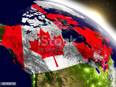 Canada with embedded flag on planet surface during sunrise. 3D illustration with highly detailed realistic planet surface and visible city lights. 3D model of planet created and rendered in Cheetah3D software, 9 Mar 2017. Some layers of planet surface use textures furnished by NASA, Blue Marble collection: http://visibleearth.nasa.gov/view_cat.php?categoryID=1484