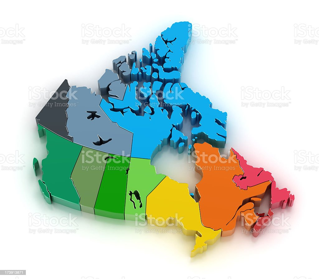 Canada with provinces and territories royalty-free stock photo