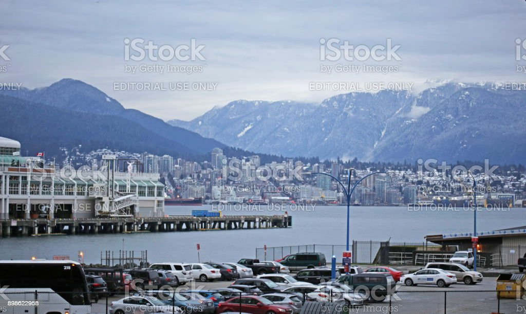 Canada's North Vancouver, Burrard Inlet and North Shore Mountains in Winter stock photo