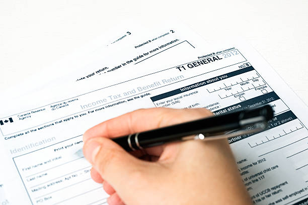 Canadian 2012 T1 Tax Form stock photo
