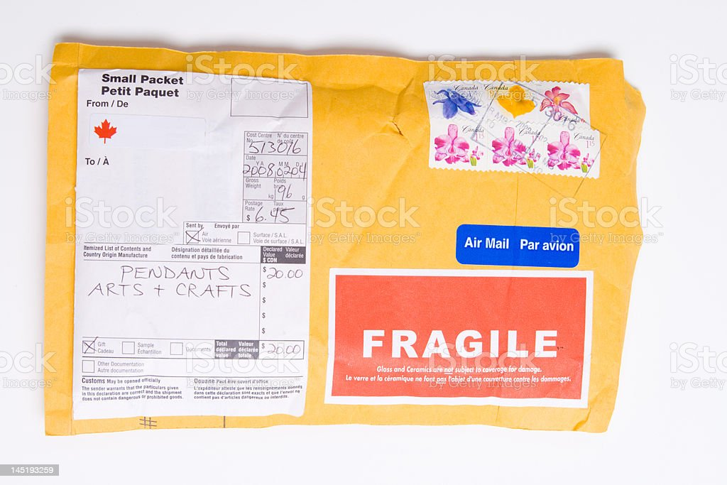 Canadian air mail package to us customs form stock photo more canadian air mail package to us customs form royalty free stock photo altavistaventures Gallery