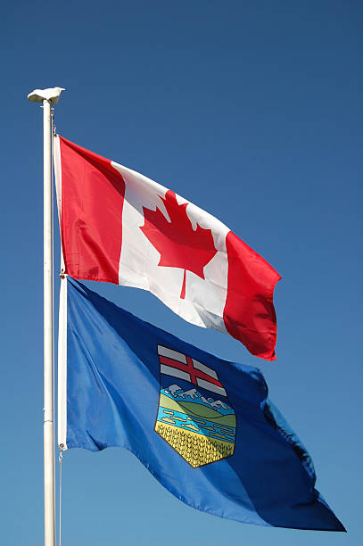 Canadian and Alberta Flags stock photo