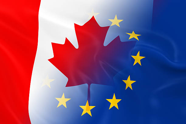 Canadian and European Relations Concept Image stock photo