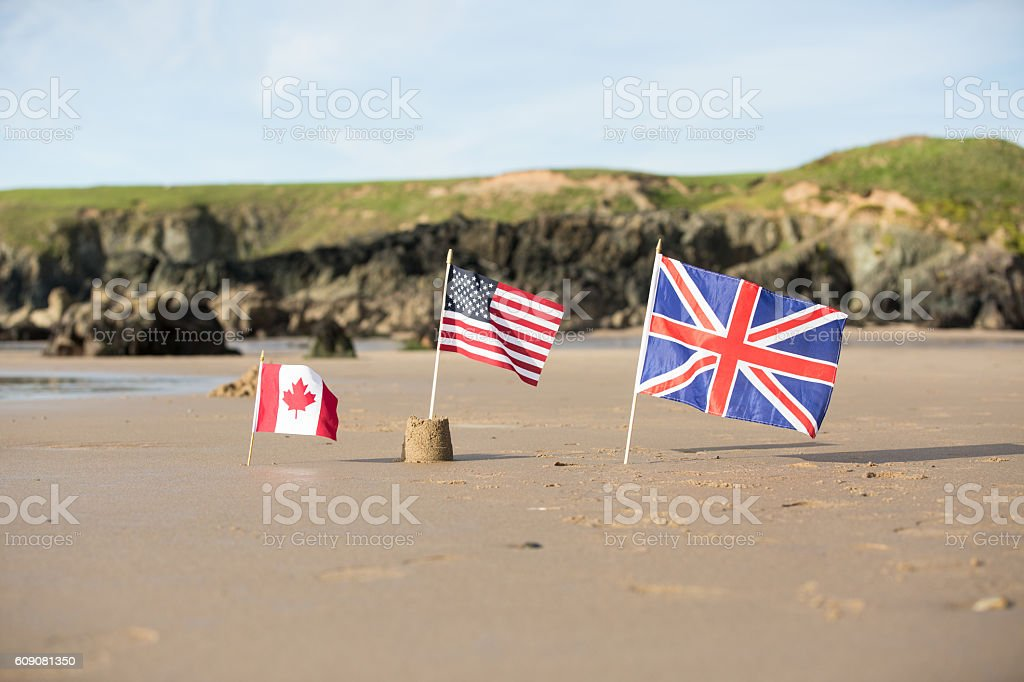 Canadian and USA Flag with a Union Jack Flag stock photo