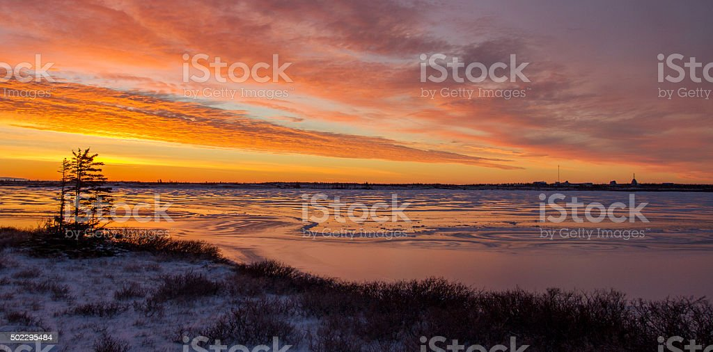 canadian arctic icy sunset stock photo